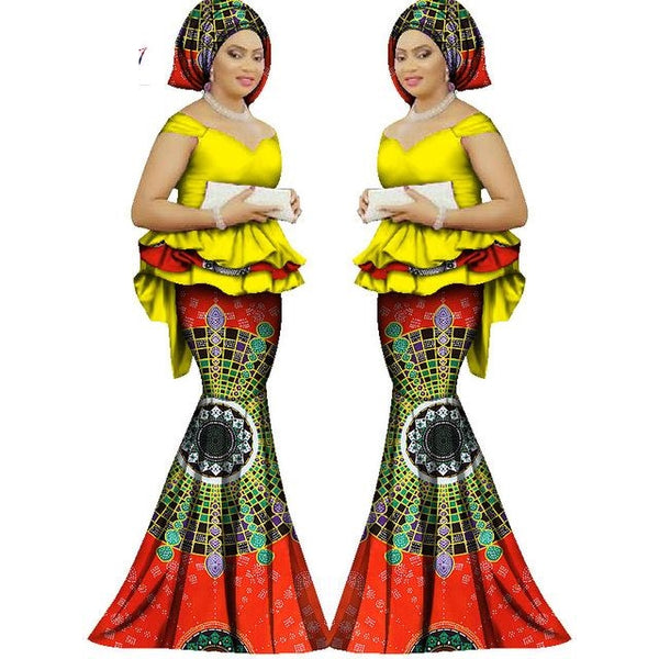 African Clothing Top-Skirt Set For Women Dashiki Traditional Bazin Print X11042