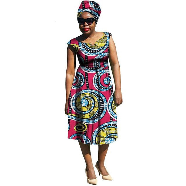 Dashiki Wax Print Knee-Length Sleeveless Dress for X11108