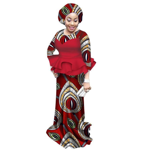Traditional African Clothing For Women O-Neck 2Piece Dashiki Cotton X11055