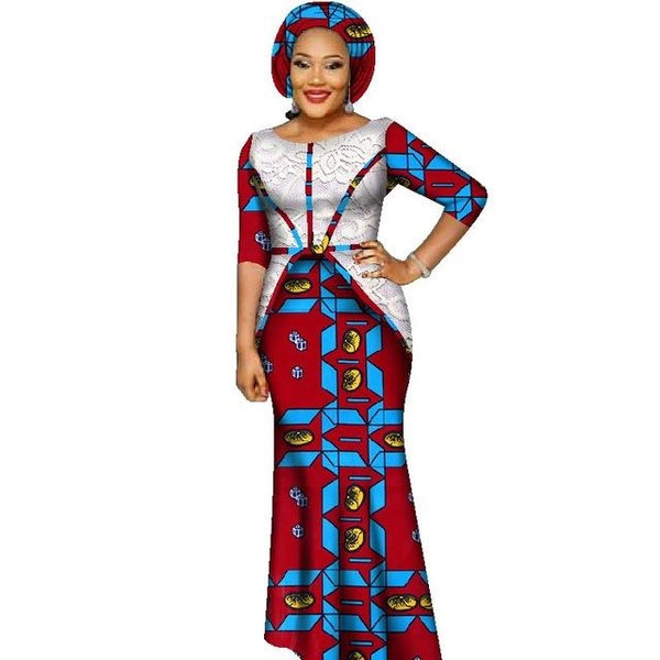 Dashiki Wax Half Sleeve Prom Dress for X11464
