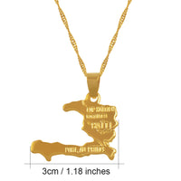 Haiti Map Necklace Pendants For Women/Girls,Ayiti Gold Color Jewelry Q50113