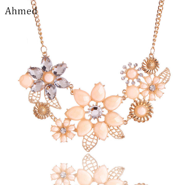 Ahmed Jewelry Fashion Gem Flower Necklace Choker Necklaces Statement  Q50183