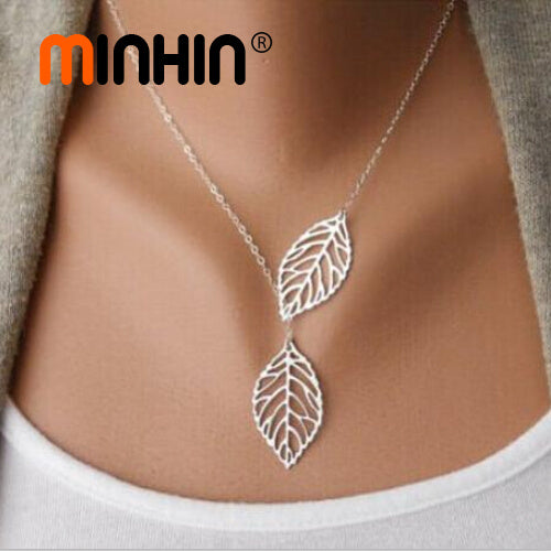 Minhin European Foreign Trade Simple Style Necklace Metal Double Leaves Q50174