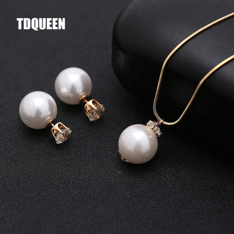 Imitation Pearl Jewelry Sets For Women Gold-Color Metal Chain Round White Q50189