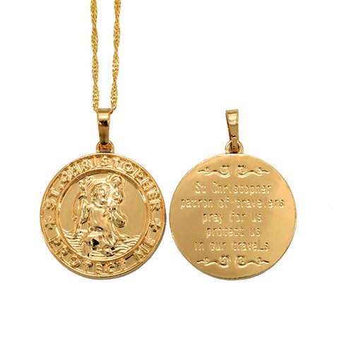 St. Christopher Protect Me Necklace Pendant Light Gold/Silver Religious Q50123