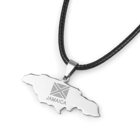 Jamaica Map Stainless Steel Pendant Black Rope Jewelry Jamaican  Q50104