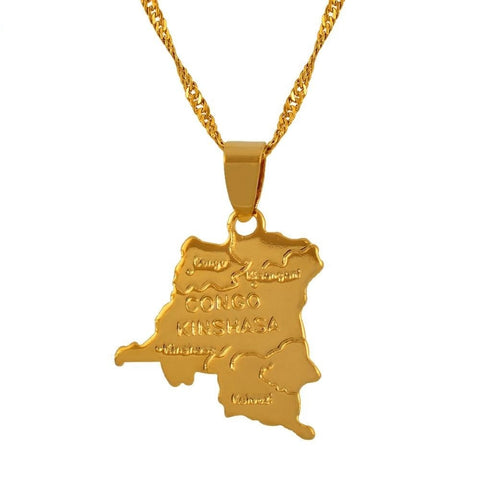 Democratic Republic Of The Congo Small Map Gold Color Drc Pendant Q50105