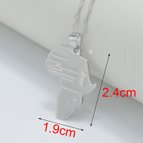 2- Size Africa Map Pendant Necklace For Women Girl Silver Color African Q50122