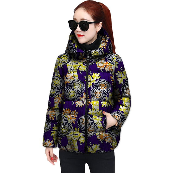 African Print Thick and Warm Winter Jacket Parka Outerwear Coat for Women X10417