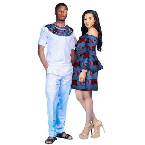 African Couples White Pants Set with Patchwork for Man and Women V11648