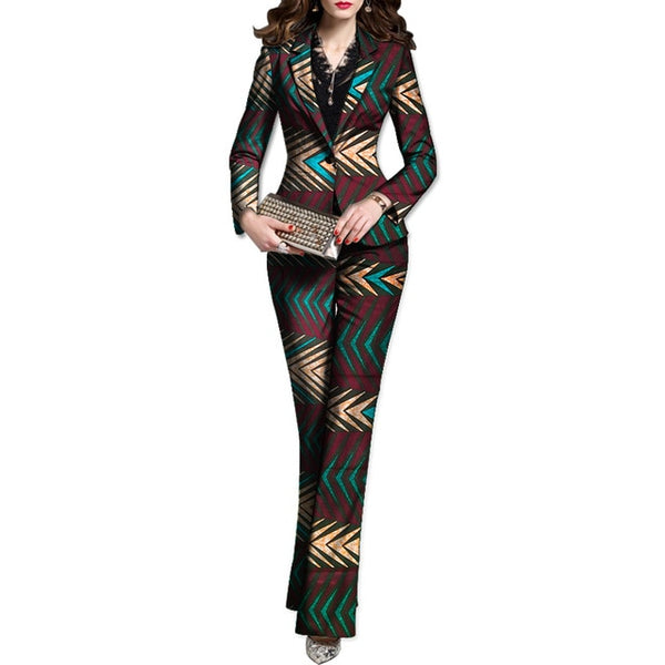 Dashiki/Ankara/Kitenge African Print Women Blazer with Pant Suit Set X10711