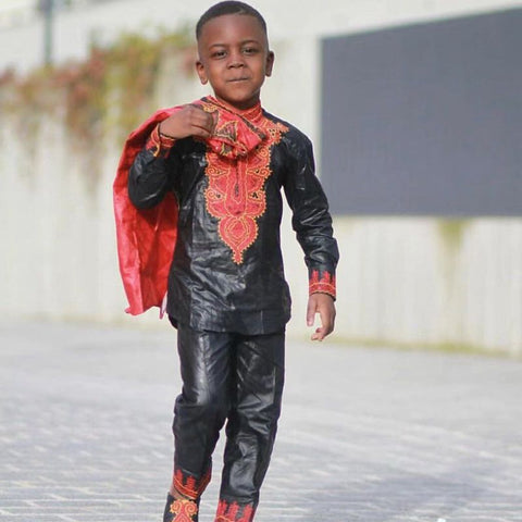 Dashiki Black Soft Material With Red Embroidery African Kids Top W21575