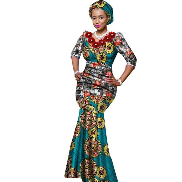 Plus Size African Women Long Mermaid Style Dress X11796