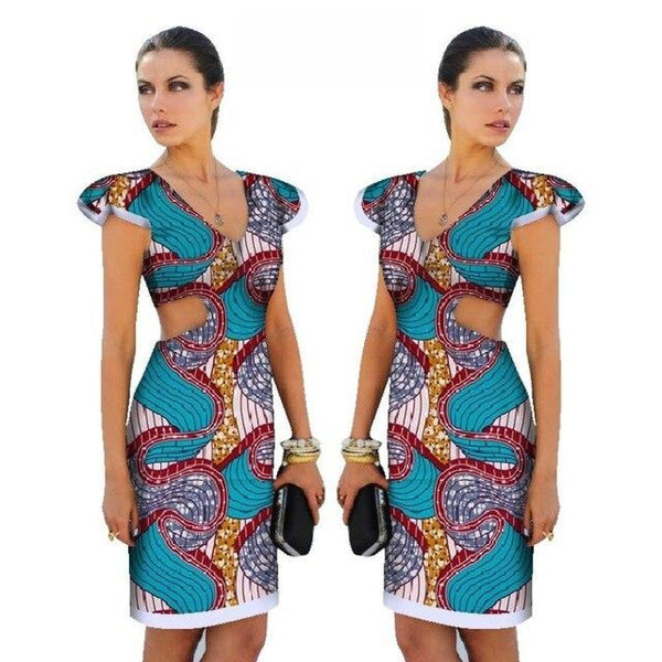 African Cotton Dashiki Wax Print Pattern Ankara Short-Sleeve Dress for Women X12016