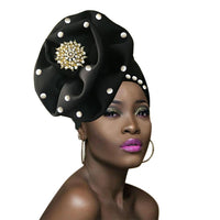 African Ready to Wear Ready to Ship Auto-Gele African Head Wraps Turban Q51800