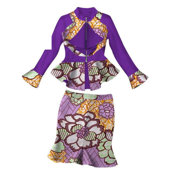 Summer Pretty Women Suits New Fashion African Printed Wax 2 Piece Set Women Crop Top And Skirt Set Normcore Dashiki Sets Wy2043