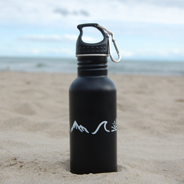 "Matte Black 18/8 stainless steel water bottle with carabiner and our ""Be Free"" design"