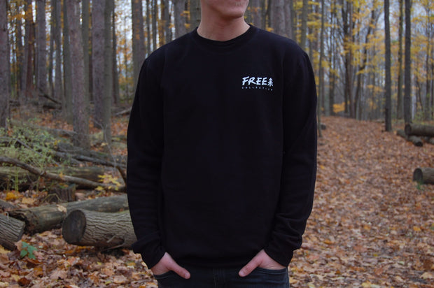 Free Collective unisex black sustainable bamboo crewneck sweater. eco clothing made in canada.