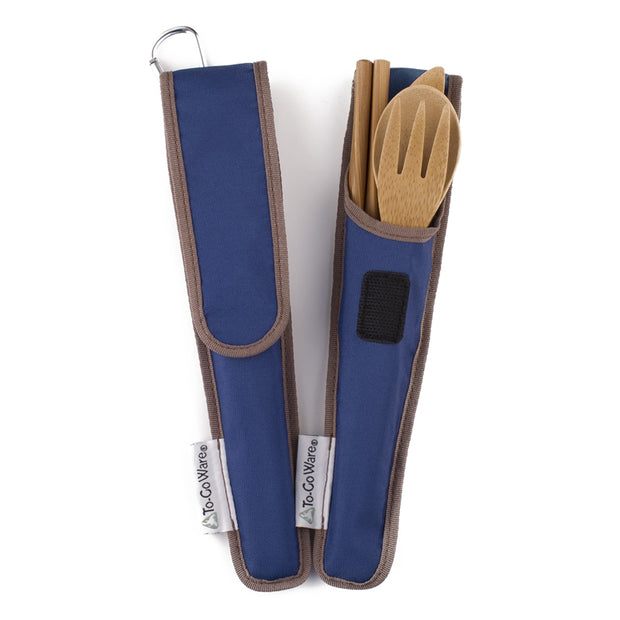 To-Go Ware bamboo cutlery with blue carry pack made from recycled plastic pop bottles with carabiner
