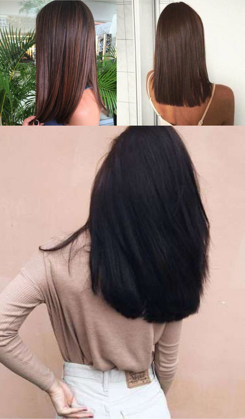Women with shiny healthy straight hair