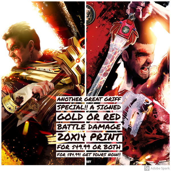 Signed Red and Gold Battle Damage 20x14 poster special!!