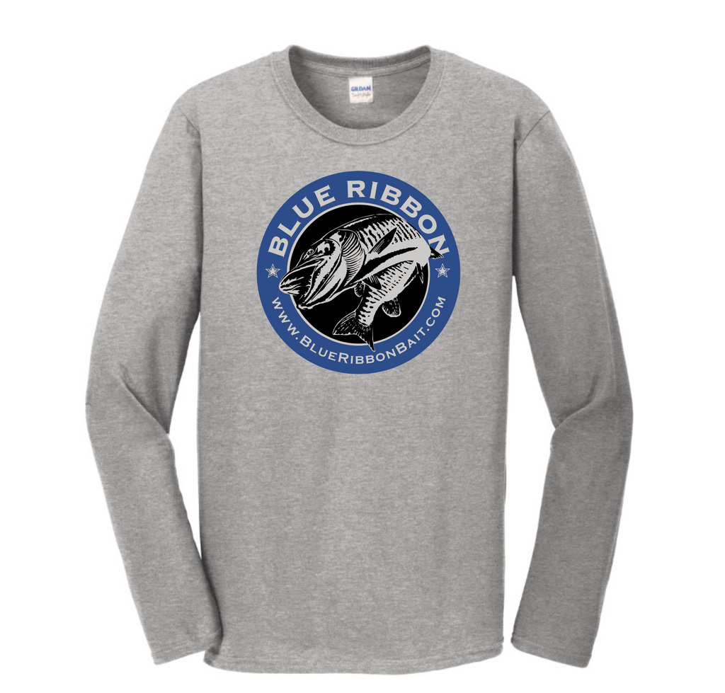 Blue Ribbon Bait & Tackle | Long Sleeve Grey T-Shirt