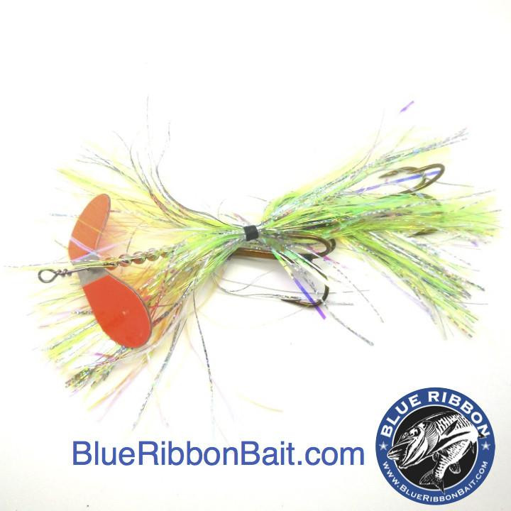 Kramer Bros Tackle | Revolution Bucktail #9-Kramer Bros Tackle-Yellow Holo/Orange blade-Blue Ribbon Bait & Tackle