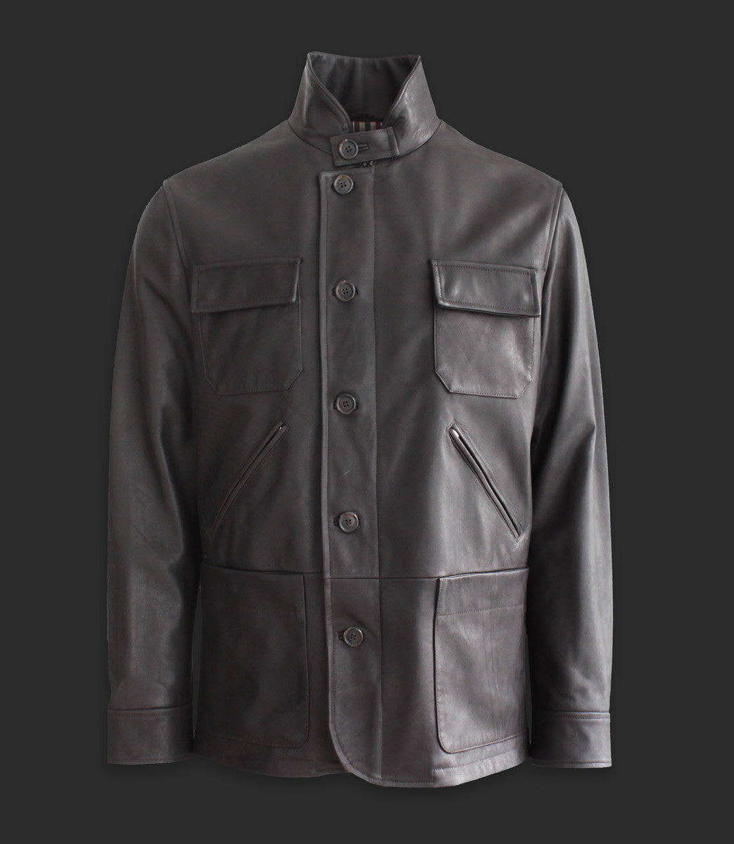 Waxed calf leather jacket with front pockets - Mod. CAM