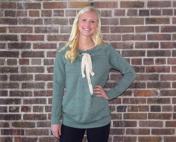 Lace-Up Green Sweater