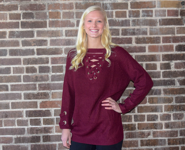Lace-Up Maroon Pullover Sweater