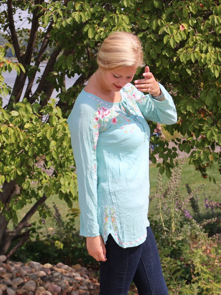 Embroidered Mint Blouse