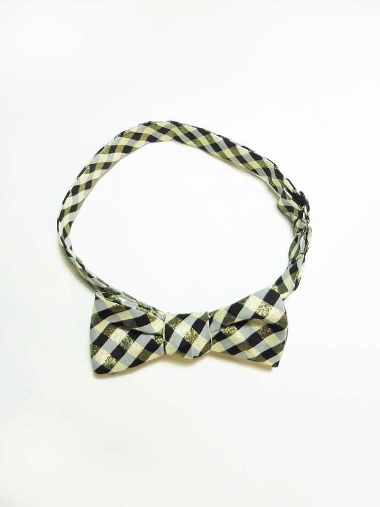 ync by nny taffeta black gold gingham plaid bow tie craftsmanship