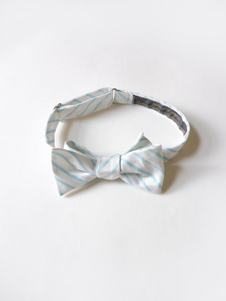 ync by nny Silk Dupioni teal mint green and white dandy Self Tie Bow Tie by nana n yoshida