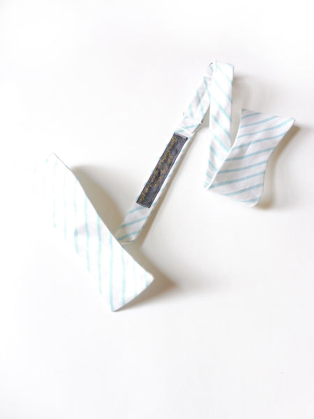 Silk Dupioni White and Teal Stripe Self-Tie Bow Tie