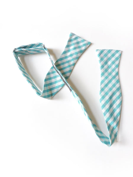 Silk Dupioni White and Teal Gingham Plaid Self-Tie Bow Tie