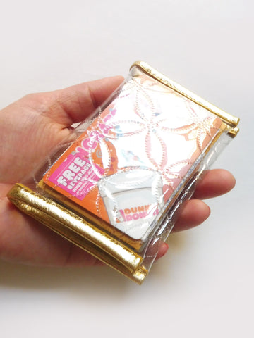 ync by nny Clear PVC card holder with gold leather trimmings