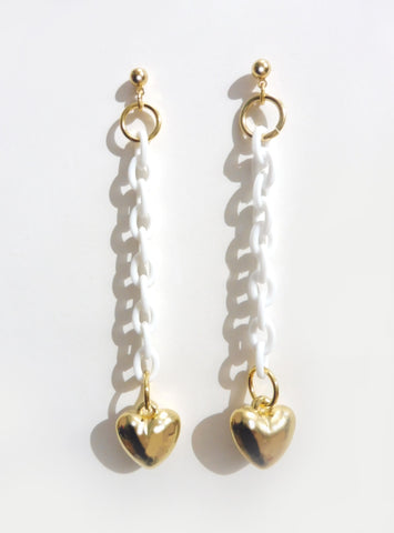 ync by nny white long hanging plastic chain earrings with gold heart charms. Set of two.