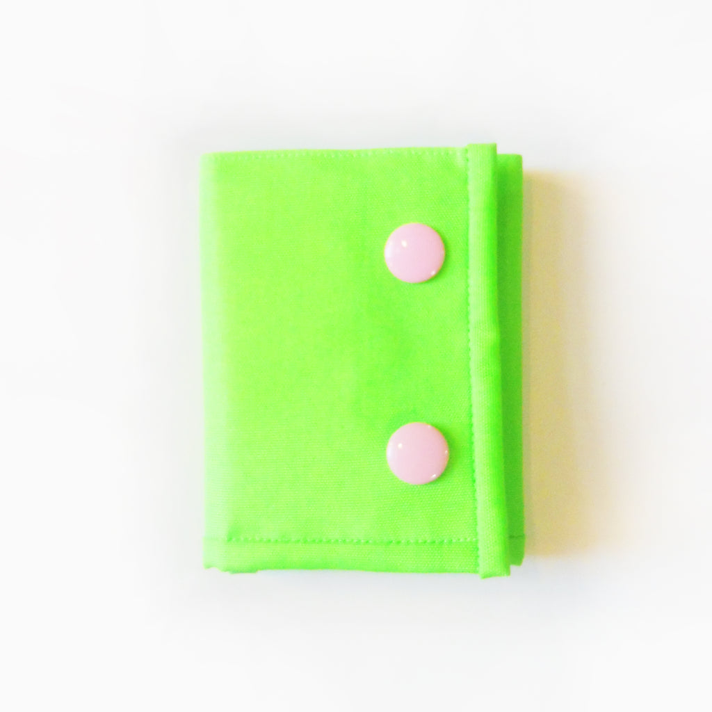 ync by nny Neon yellow green Skater Wallet with baby pink Snaps. Yn Couture by Nana N Yoshida.