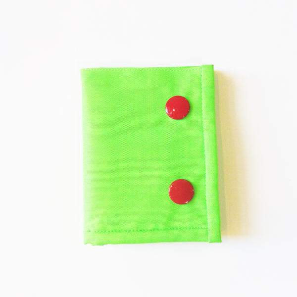 ync by nny Neon yellow green Skater Wallet with red Snaps. Yn Couture by Nana N Yoshida.