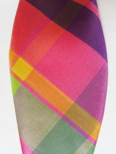 Pink Rainbow Plaid Taffeta Self-Tie Bow Tie
