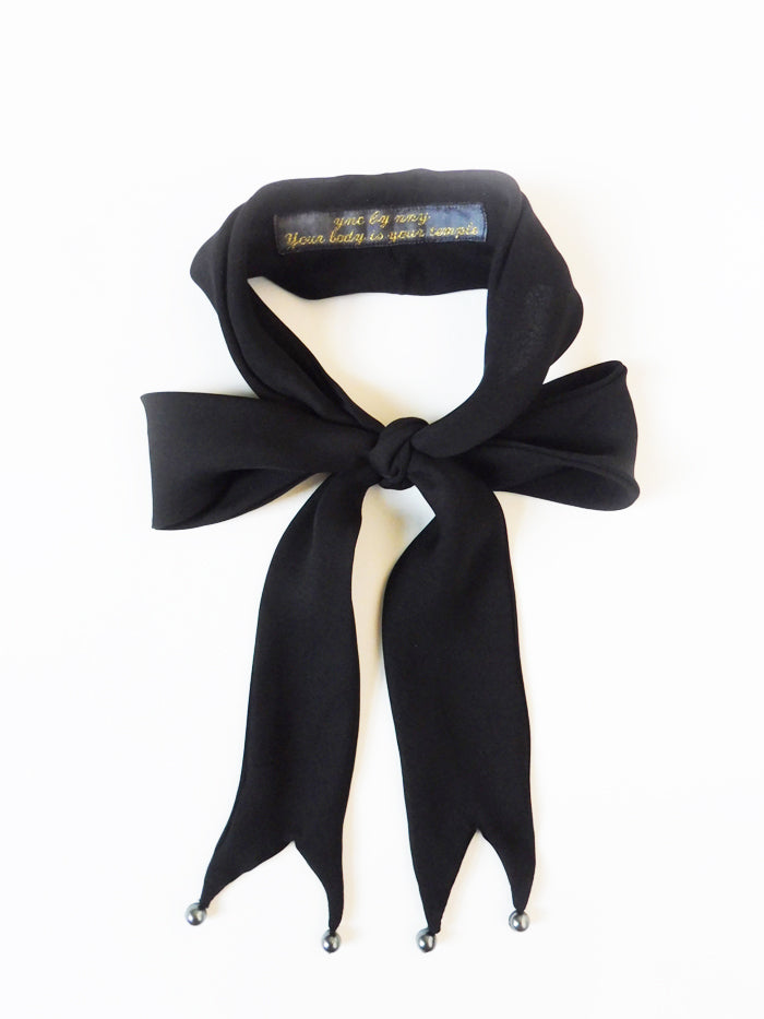 ync by nny Ribbon Silk Skinny Scarf Black Pearl Yn Couture by Nana N Yoshida