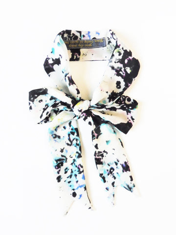 ync by nny Ribbon Silk Skinny Scarf White blue floral Yn Couture by Nana N Yoshida