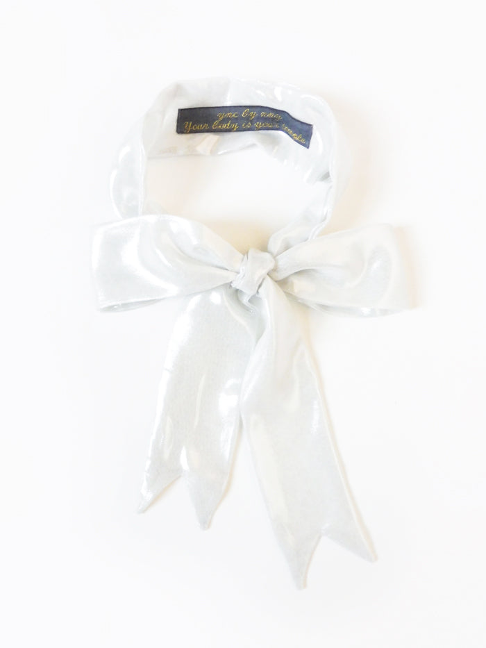 ync by nny Precious Ribbon Bow Doubled Skinny Scarf metallic white Silver Yn Couture by Nana N Yoshida