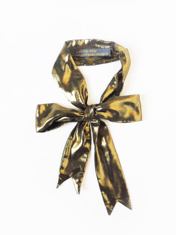 ync by nny Precious Ribbon Silk Skinny Scarf metallic gold Yn Couture by Nana N Yoshida