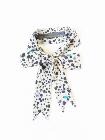 ync by nny Precious Ribbon Silk Skinny Scarf Splattered Paint Yn Couture by Nana N Yoshida