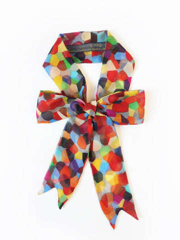 ync by nny Precious Ribbon Silk Skinny Scarf multi color Pebbles Yn Couture by Nana N Yoshida