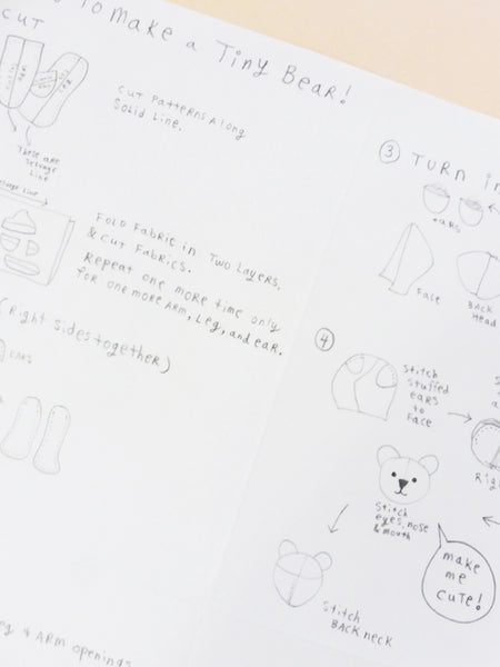 ync by nny zine style tiny bear making instructions and pattern