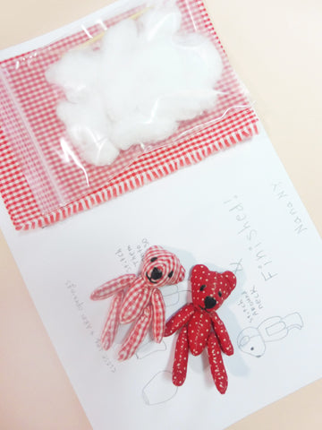 ync by nny tiny teddy bear making kit with instructions and pattern. Yn Couture by Nana N Yoshida.