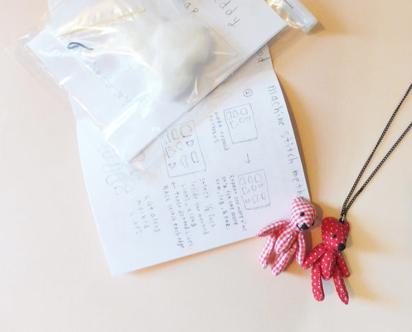 ync by nny tiny teddy bear making kit necklace charm presented by Yn Couture by Nana N Yoshida