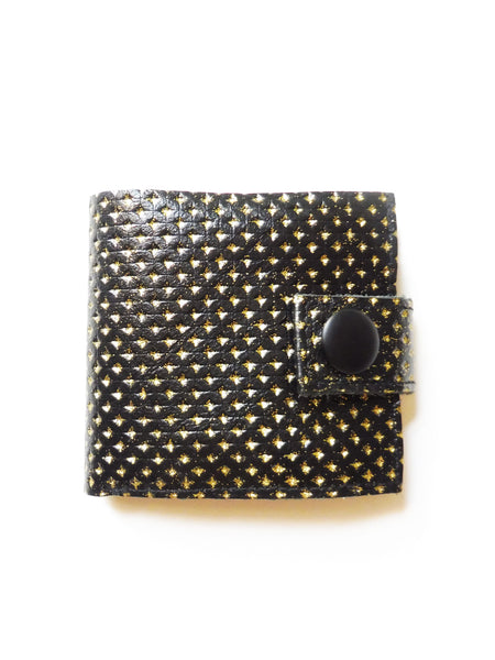 Smallest Minimalist Leather Cash Wallet for US Dollars (Black/Gold Embossed Polka Dots)